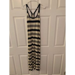 Ralph Lauren Navy and White Striped Maxi Dress